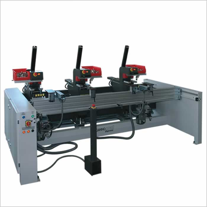 Cabinet door drill and insertion machine with magazine feeding for hinges - GANNOMAT Express 807